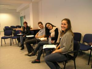Alumni of YES Macedonia attend the Re-Entry.  From left to right, Jordana Bozinova '12, Metodija Nikoloski '12, Anastasija Stojchevska '12, Marija Indova '12.
