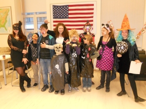 YES Alumni with children at the Halloween party in Sofia, Bulgaria