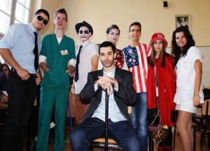 Toma (in American Flag tee) with his classmates, dressed in their costumes