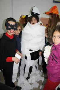 Children participate in Halloween games at the American Corner in Bitola, Macedonia