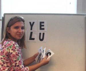 Simona prepares a shot for the 10th Anniversary video in Skopje, Macedonia