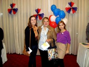 Marija, Simona, and Velika Angelkova, American Councils Office Director in Skopje at the election reception