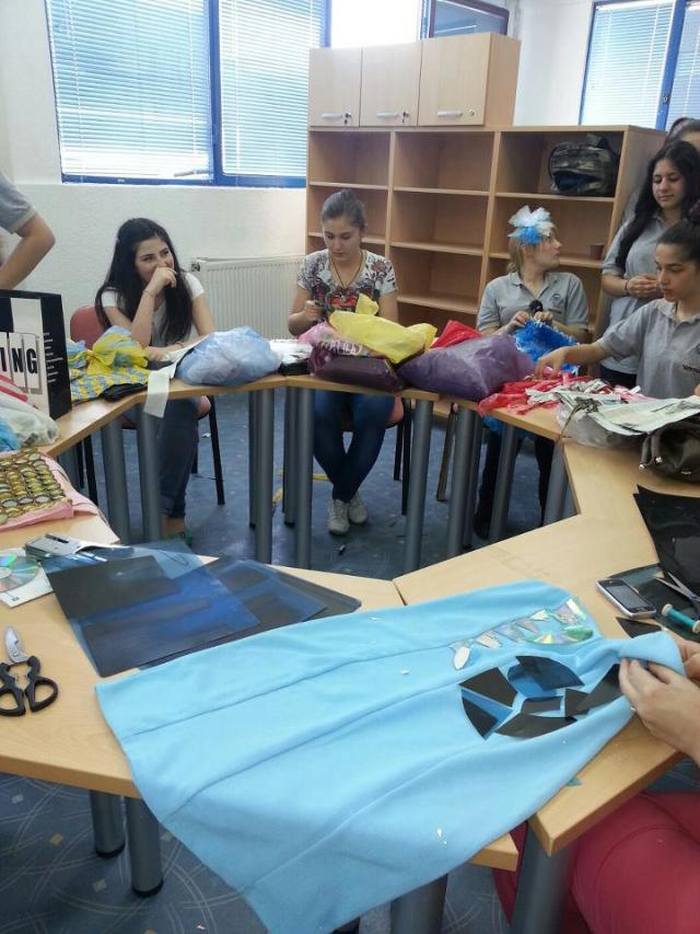 Some of the girls hard at work on making their designs.