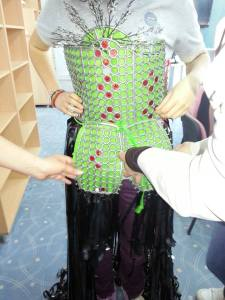 One of the dresses designed from recycled materials.