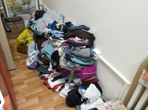 Some of the clothes collected from one alumna's school.
