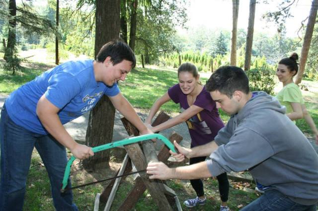 Alumni participating in a teambuilding game directed by Avala park staff.