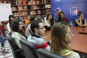 Interested students hear the YES presentation at the American Corner in Tirana.
