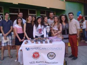 From left to right: Stela Sota '13, Klea Troka '12, Elvana Qeli '12, Katerina Margariti '13, Arber Cungu '10, Ermioni Qafzezi '11, Olta Myslimi '12 and Marsid Nuho '11 and CV Kyle Roberts, Brad Mcdonald and Emily Thorn