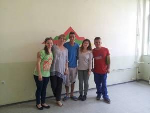 "Shpresa Frrokaj (YES Kosova '13) and staff and students of ""Nene Tereza"" in Prizren"