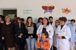 Presentation of the project (from the left-Director of the hospital, Vice Director of the Hospital, The Pediatrician, me, Main Nurse of Pediatric Floor and a sick girl) Up in the wall is written: sponsored by the YES program